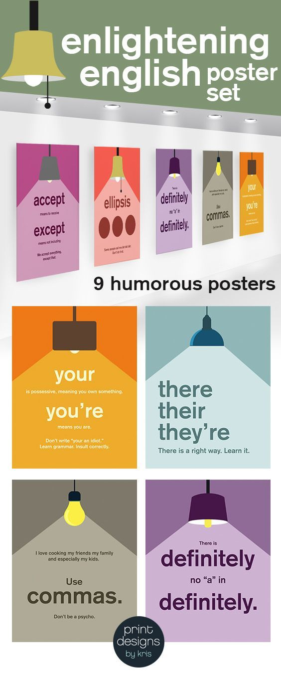 High School or Middle School humorous English language posters about common mistakes in writing. High School and Middle school walls need color too! Enlighten English with this fun poster set!