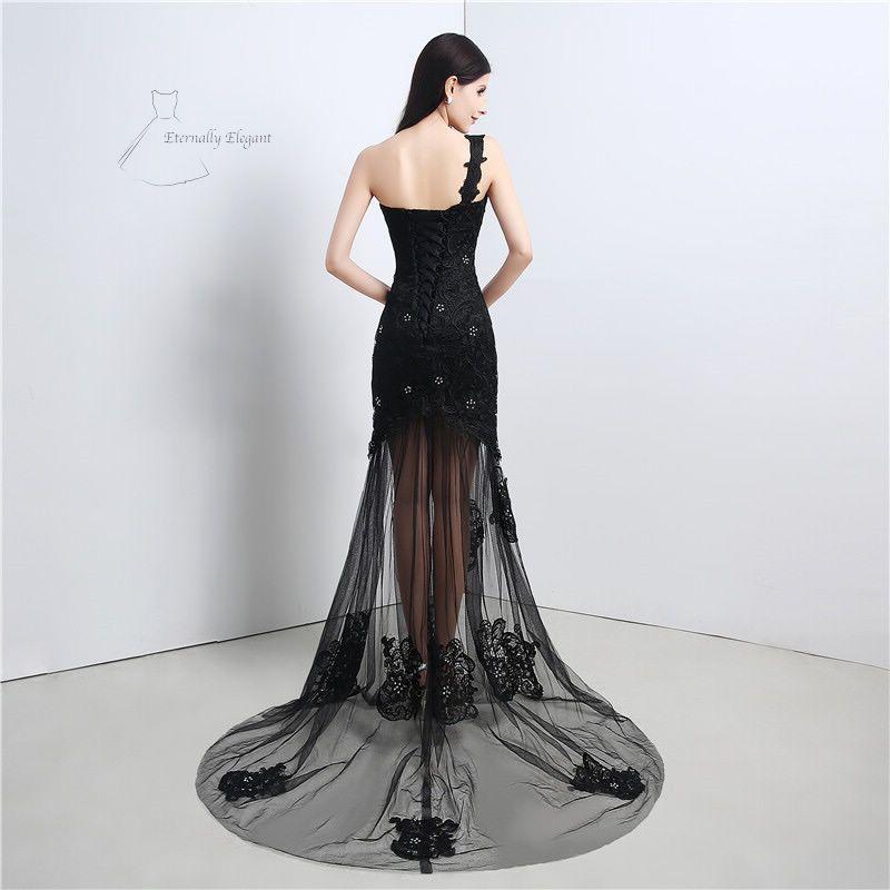 floor length black a line dress