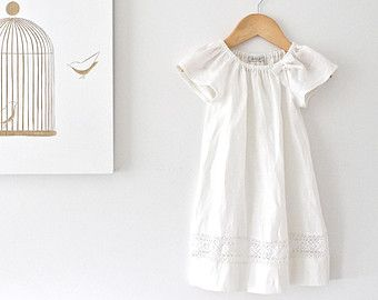 Baby Girl Baptism Dress-French Ivory Linen and Lace Dress-Special  Occasion-Christening