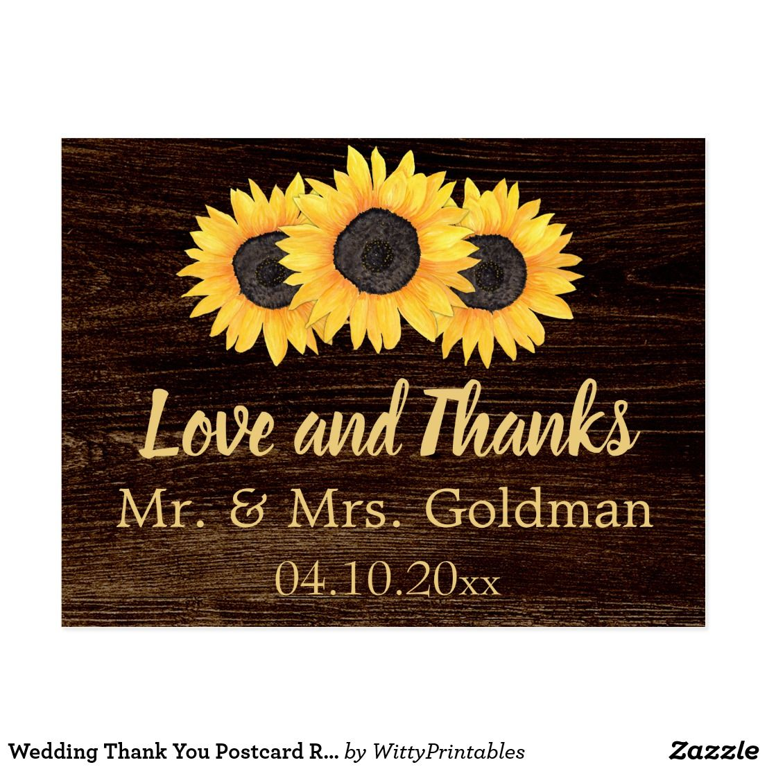 wedding reception directions card%0A Wedding Thank You Postcard Rustic Sunflowers Wood
