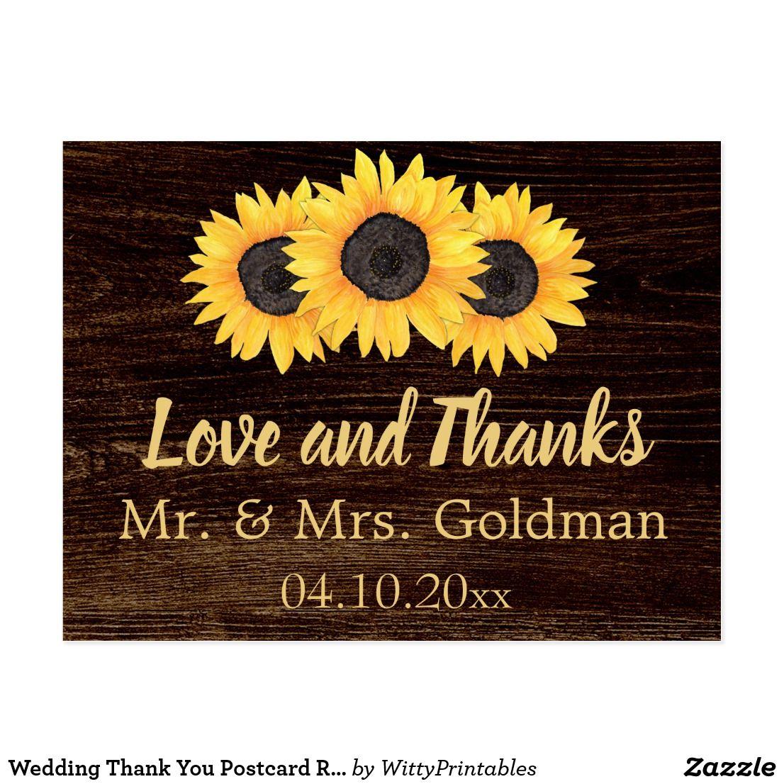 sunflower wedding invitations printable%0A Wedding Thank You Postcard Rustic Sunflowers Wood