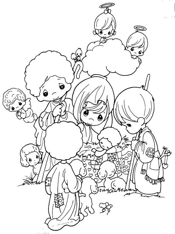 Nativity scene precious moments free coloring pages for Precious moments nativity scene coloring pages
