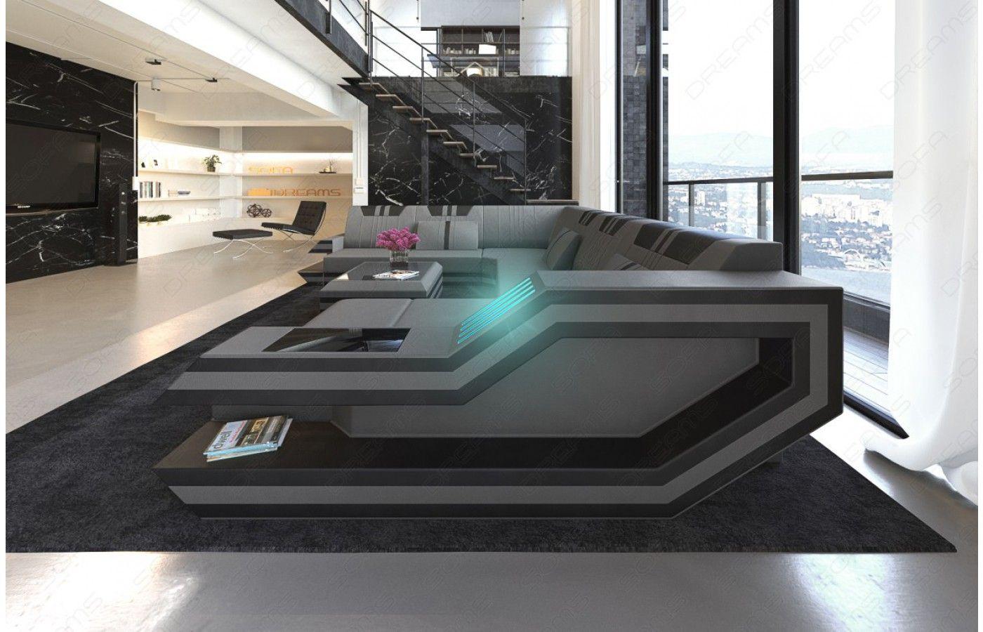 Luxury Moderne Leder Wohnlandschaft mit LED Beleuchtung und USB Anschluss In verschiedenen Farben