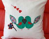 HAND PAINTED PILLOWS / love bird  pillow / twill cotton / art  with fabric paint / valentine gift