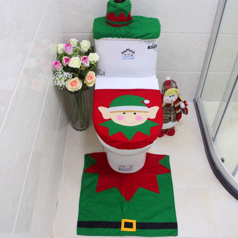 Attractive 3pcs/set Happy Snowman Christmas Bathroom Set Toilet Seat Cover Rug Xmas Decoration  Bath Mat