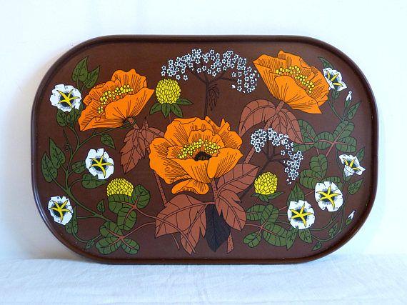 Orange poppy flower ST MICHAEL brown melamine serving tray - French