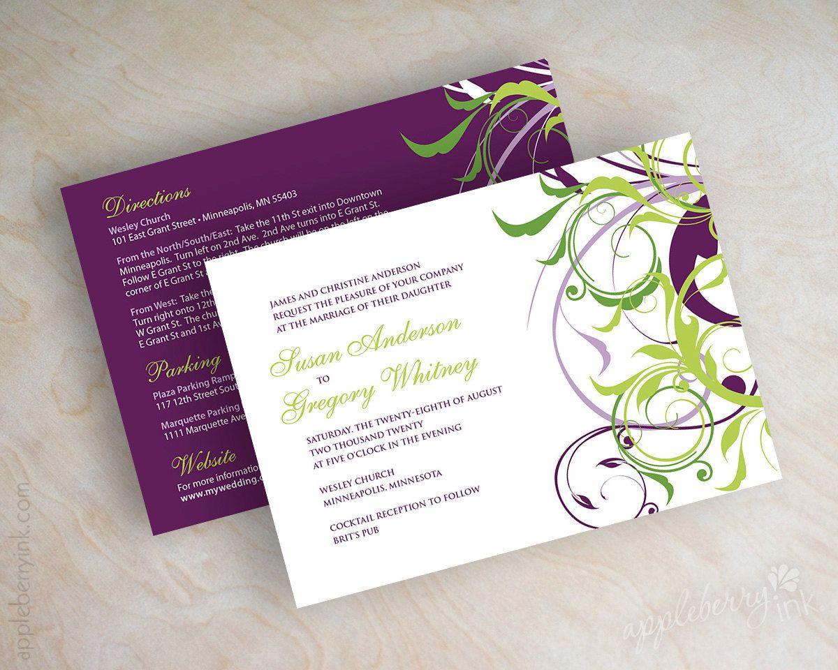 Wedding invitations, victorian swirly vines in eggplant, sage green ...