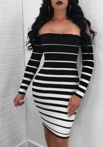 256bc9d21ff Black-White Striped Off Shoulder Ruffle Backless Bodycon Party Midi Dress