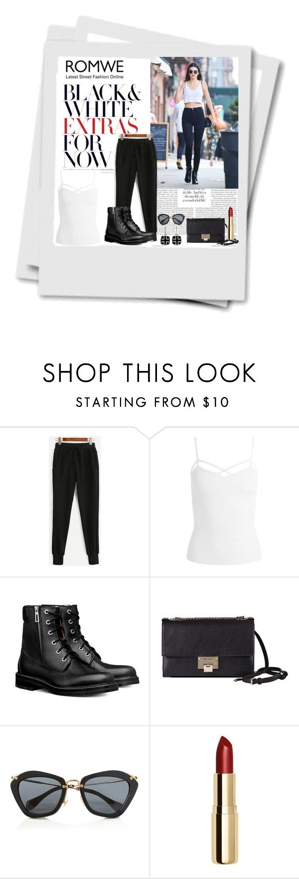 """Romwe.com Contest - Win Black Drawstring Waist Pants!!!"" by ann-kelley14 on Polyvore featuring Sans Souci, Jimmy Choo, Miu Miu and H&M"
