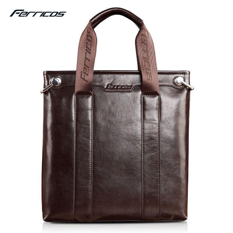 2c212383c717d FERRICOS Man Vertical Genuine Leather bag Men Messenger Business Men's  Briefcase Designer Handbags High Quality Shoulder Bags #Affiliate