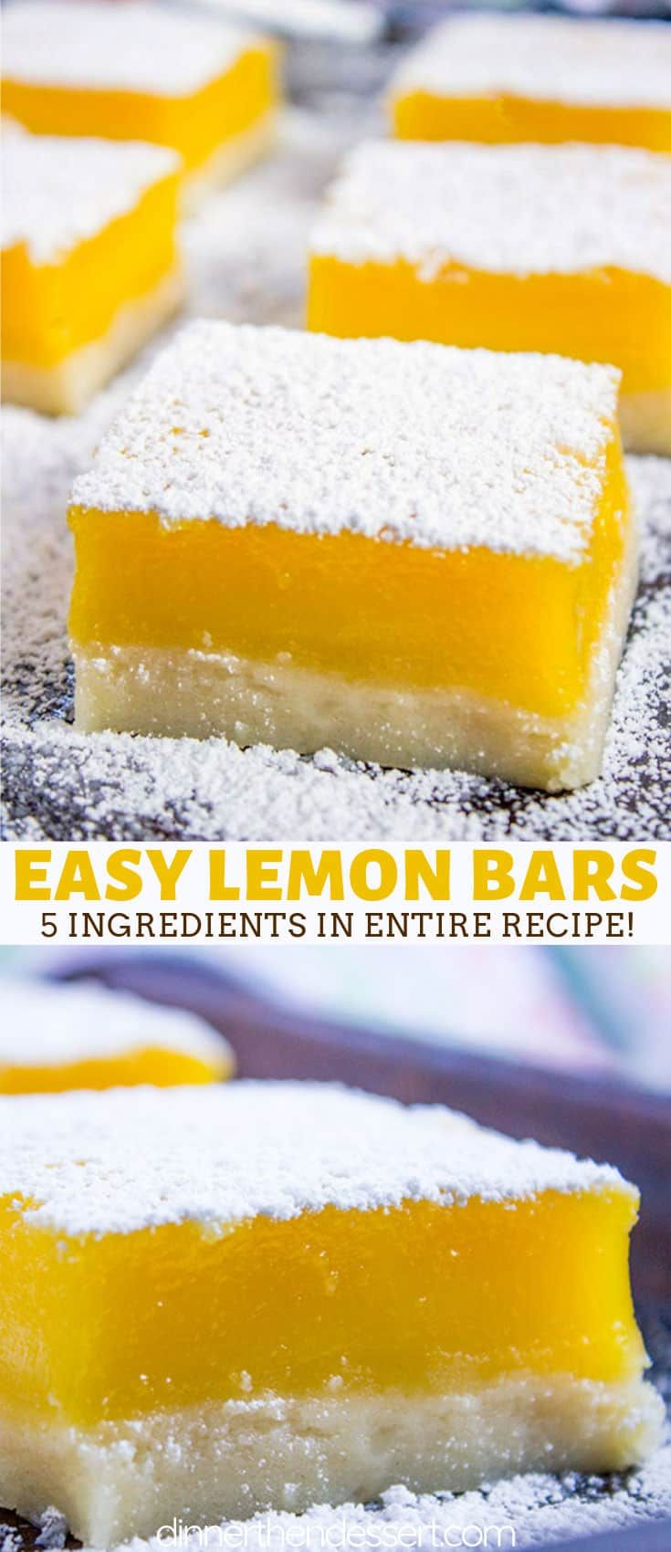 Easy Lemon Bars have a buttery shortbread crust, a tangy lemon curd filling and just 5 ingredients