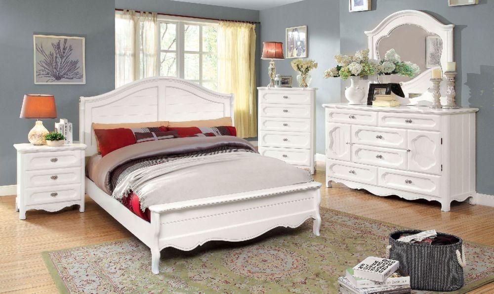Osteria 4Pcs Cottage Style Youth Girls White Full Bedroom Set