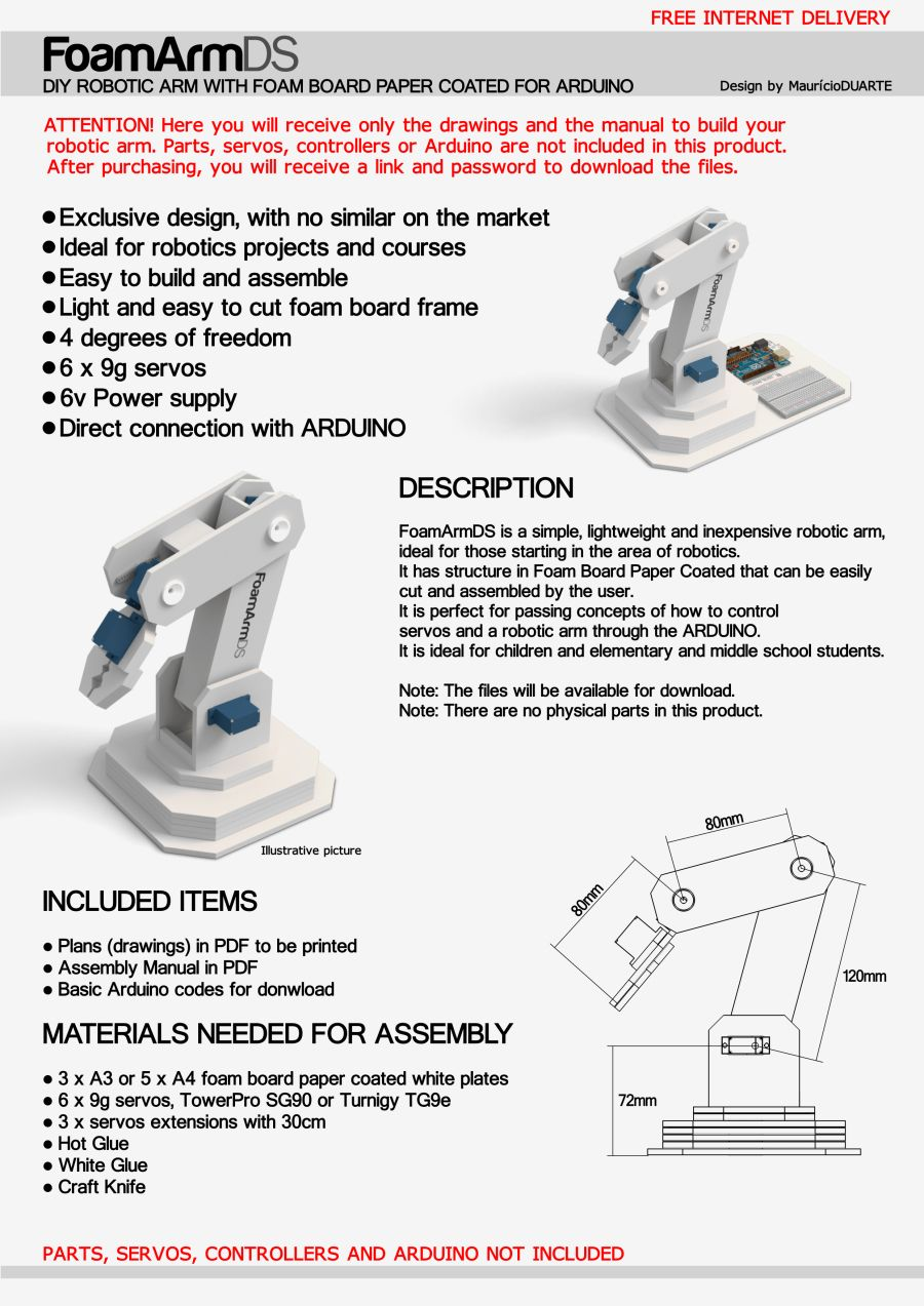 Robotic Arm Diy With Foam Board For Arduino Pdf Plans For Printing