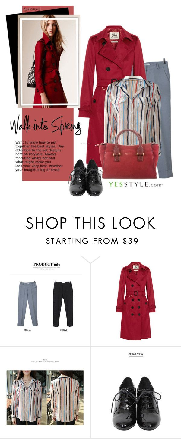"""""""YesStyle - Spring Fashion"""" by beebeely-look ❤ liked on Polyvore featuring migunstyle, Burberry, BbaeBbae, Smythson, women's clothing, women, female, woman, misses and juniors"""