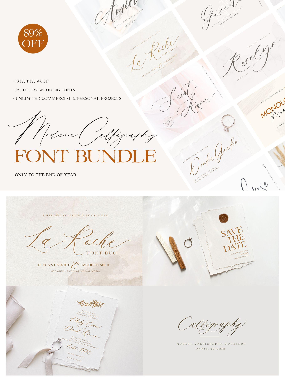 Modern Calligraphy Font Bundle Wedding fonts, Font