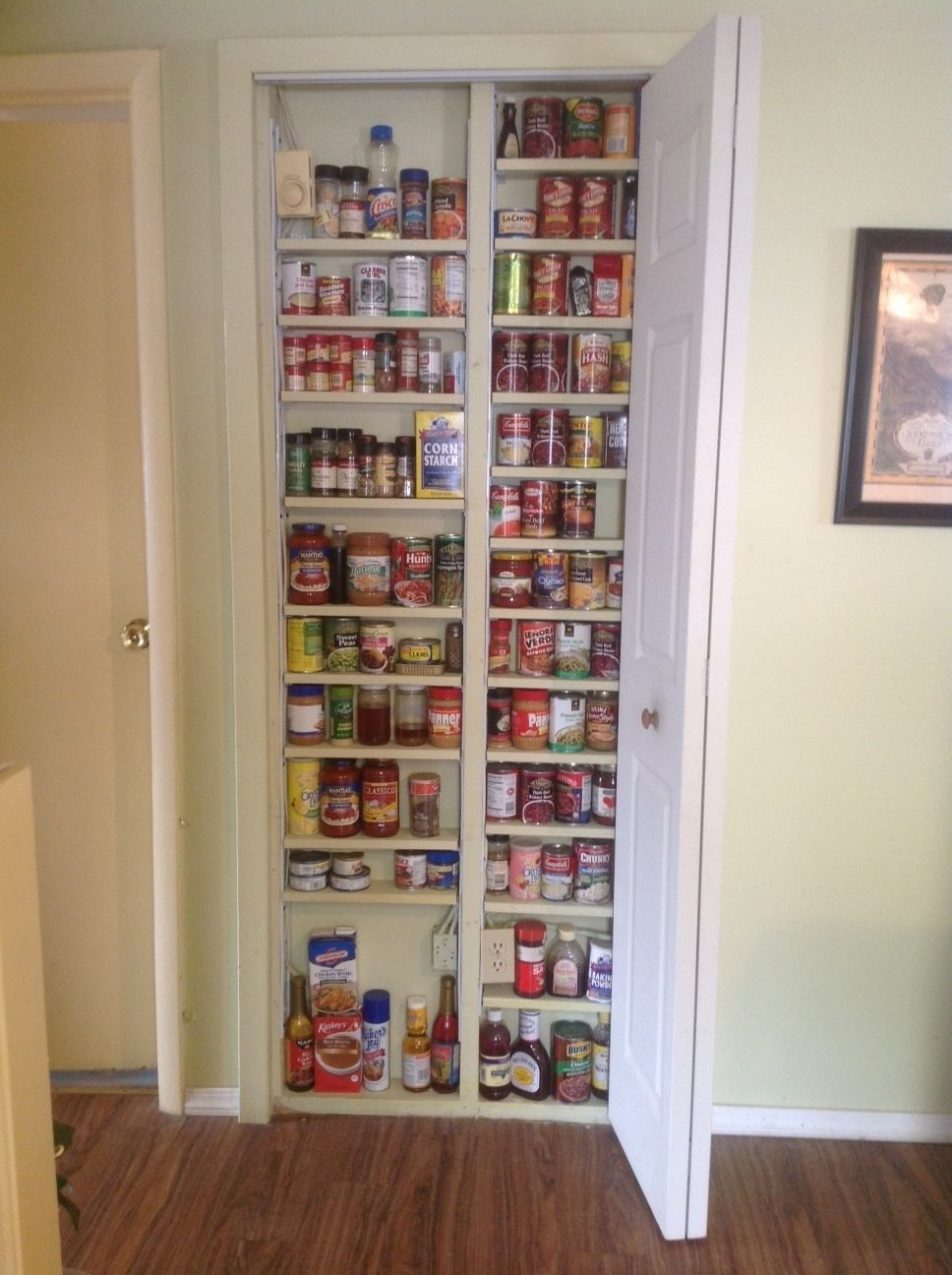 Build Into Interior Wall Only Walls Are Usually 2x4 Construction Use Stud Finder Open 30 X80 Diy Kitchen Storage Kitchen Storage Kitchen Organization Pantry