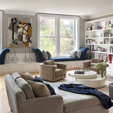 Navy and Gray Room | gray brown navy living room | Spaces Navy And Gray Design, Pictures ...