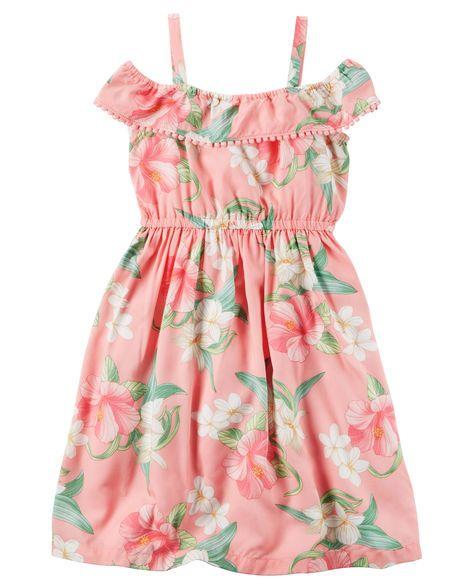 5a7f610ae Floral Pom-Pom Ruffle Dress