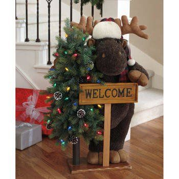 Fabric holiday greeters moose with led lights and welcome sign fabric holiday greeters moose with led lights and welcome sign 40 mozeypictures Choice Image