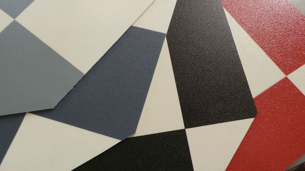 Funky checker vinyl flooring red blue grey or black for Checkered vinyl flooring
