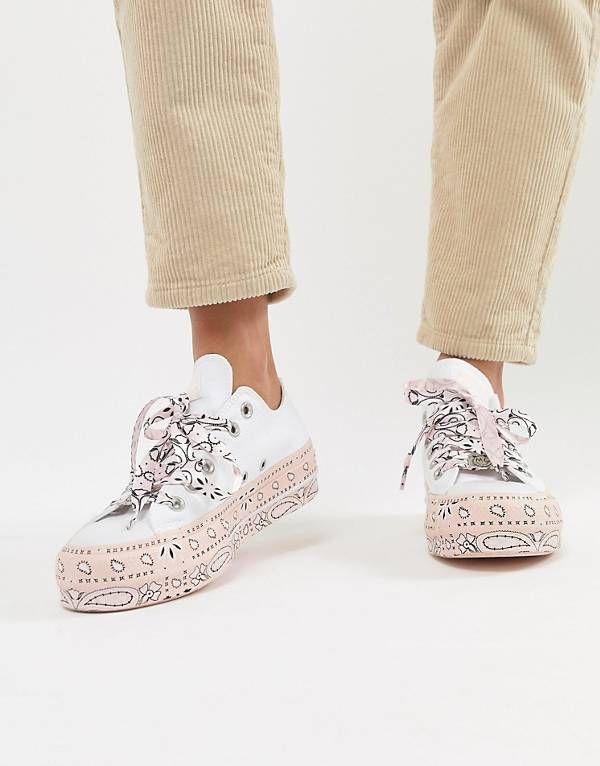 Converse X Miley Cyrus - All Star Platform - Sneakers bianche e rosa con  stampa stile c71823f64ea