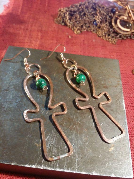 cc6cec8f7 Malachite Ankh Earrings by ChakraZulu on Etsy, $35.00 | Earring ...