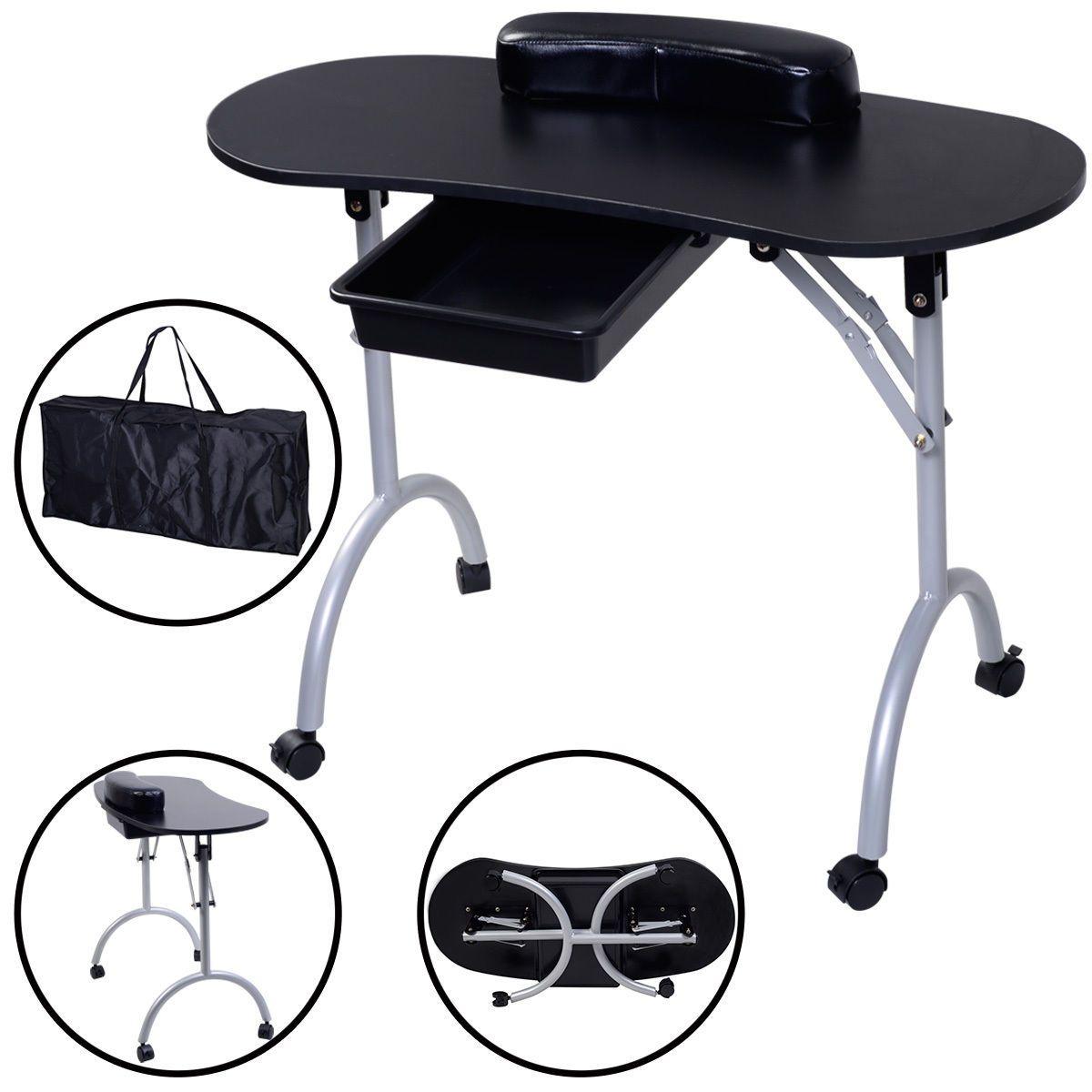 Portable Manicure Nail Table Station Desk Spa Beauty Salon Equipment 2 Color