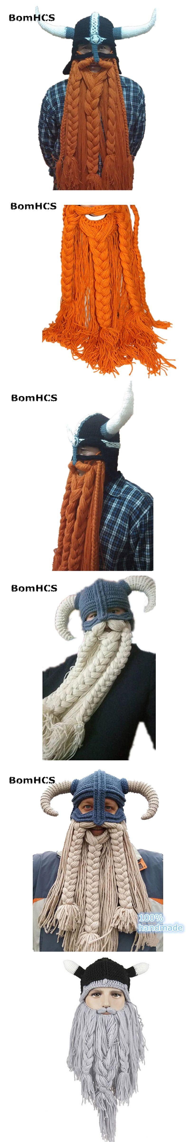 85f383c84dd BomHCS Funny Party Halloween Cap Men s Head Beard Beanie Horn Hat Handmade  Winter Warm Birthday Gift