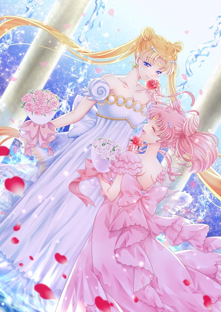 Photo of 2girls bare_shoulders bishoujo_senshi_sailor_moon blonde_hair blue_eyes bouquet …