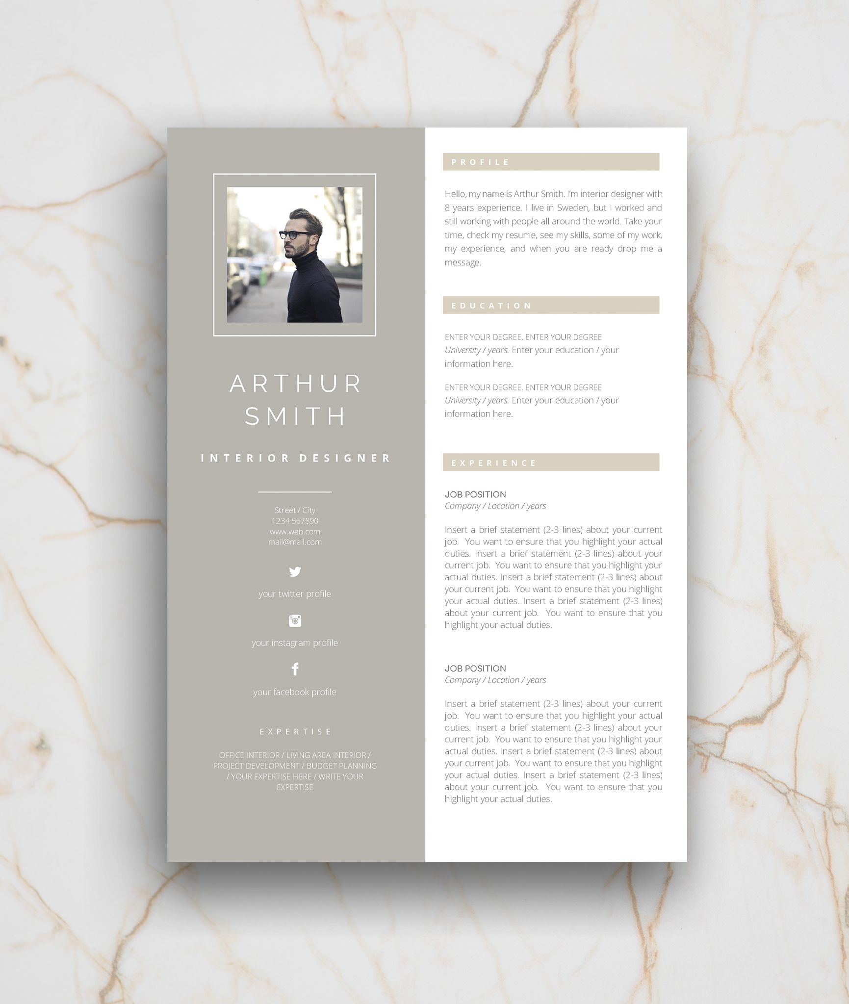Resume Template 3 Page Cv Template Cover Letter Instant Etsy Graphic Design Jobs Resume Design Creative Resume Template