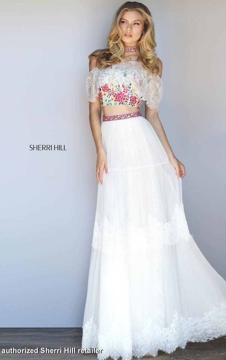 Sherri hill ivorymulti size bohemian inspired twopiece