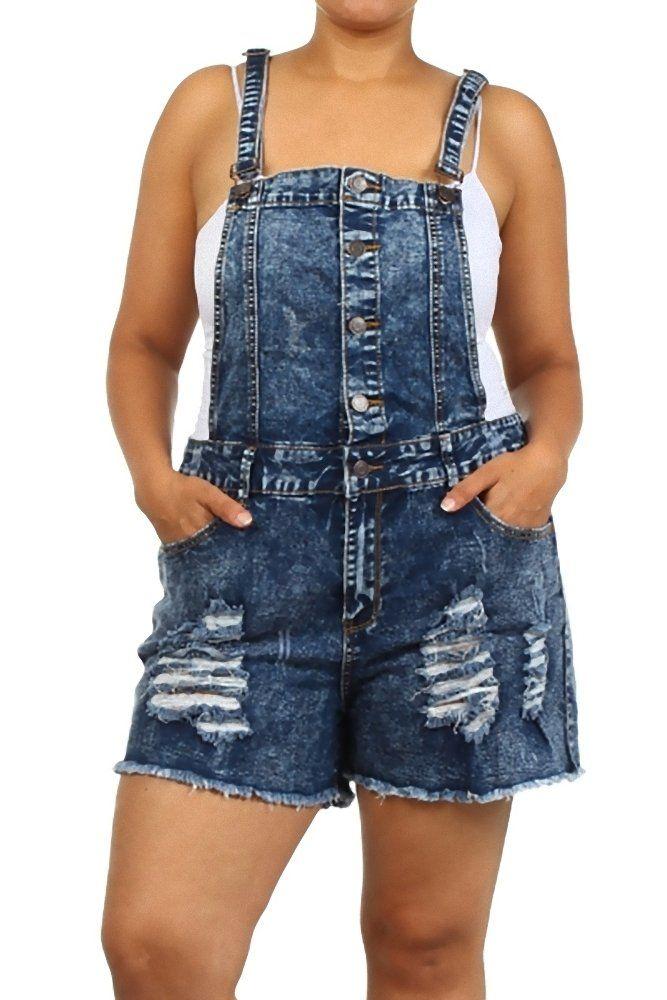 18509f050 Amazon.com  JB1508 - High Waist Plus Size Acid Wash Ripped Denim Jumper  Short Overall  Clothing
