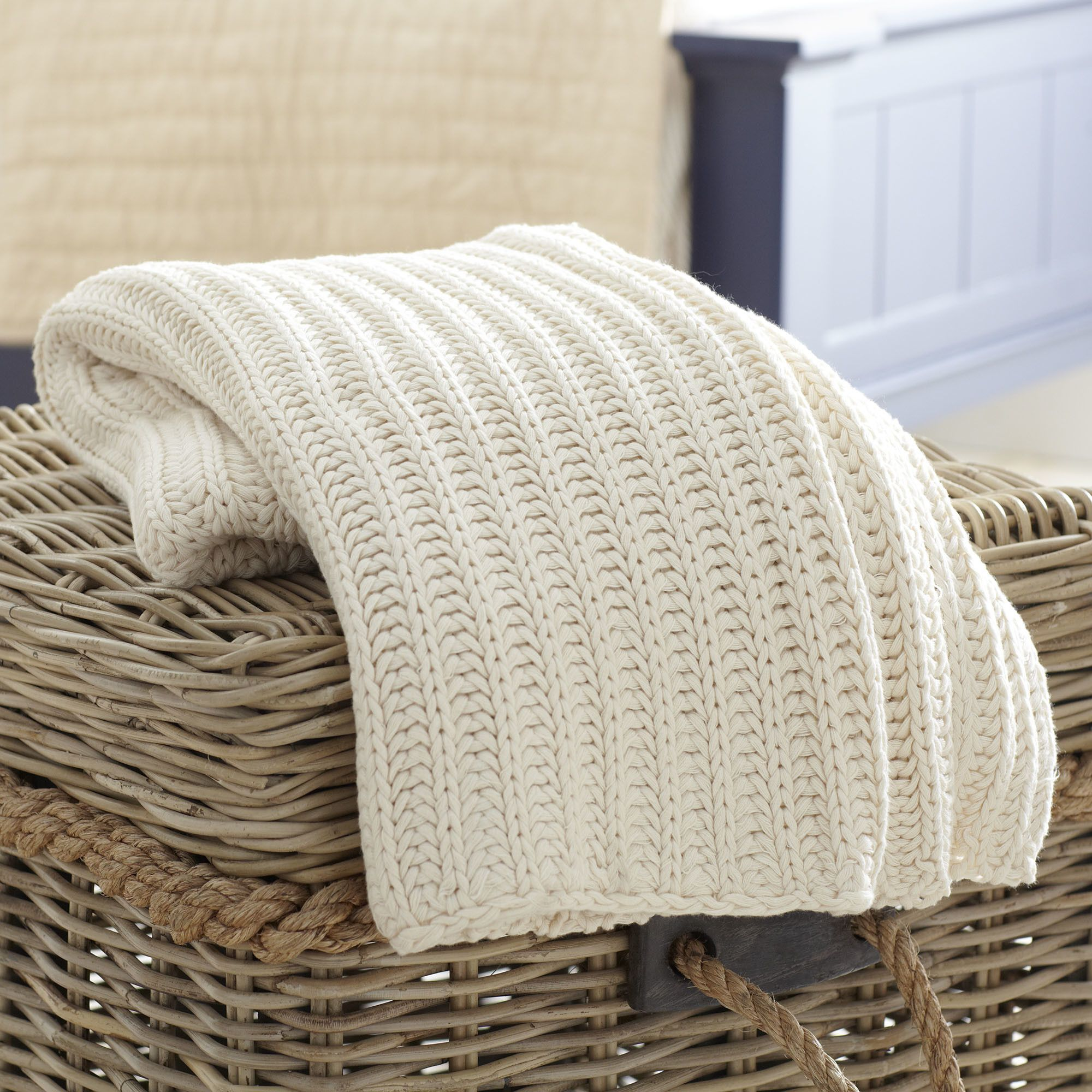 Megan Cotton Throw | A simple knitted pattern makes this cotton throw perfect for casually draping over your bed or favorite arm chair.