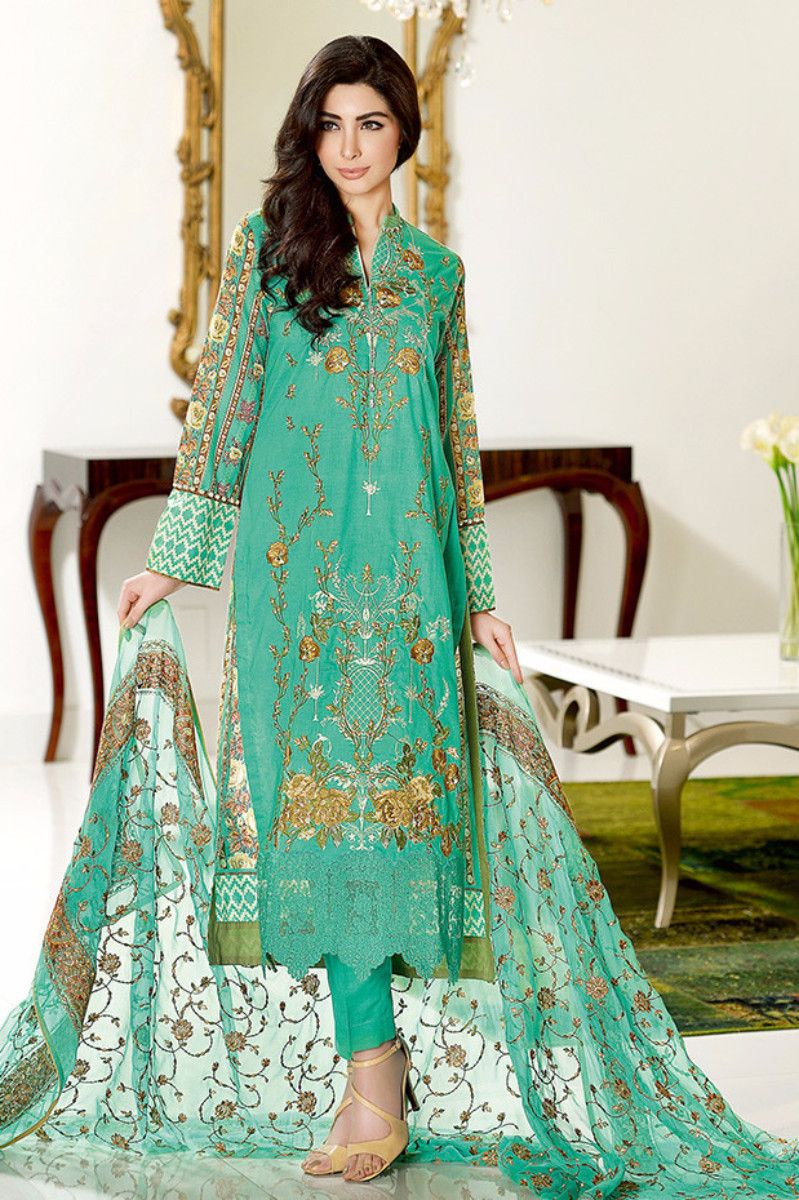 Sea Green Premium Embroidered Chiffon PM-114 from Gul Ahmed ...