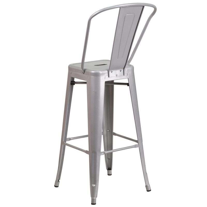 Classic Tolix Metal Bar Stool in Silver SBS