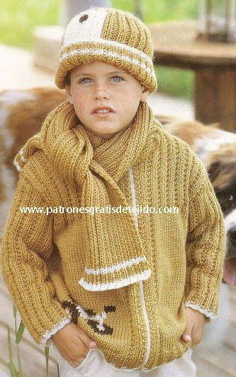 comprar popular 1cd59 ec514 Conjunto de gorro, campera y bufanda dos agujas para niño ...