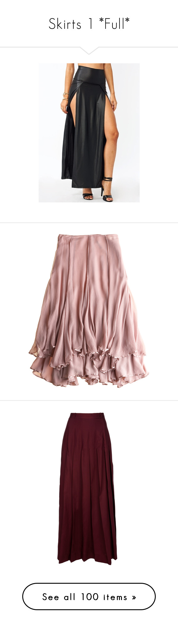 """Skirts 1 *Full*"" by crystalgriffin-ffn ❤ liked on Polyvore featuring skirts, bottoms, pink, saias, frilly skirt, ruffle skirt, pink skirt, pink ruffle skirt, long layered skirt and maxi skirts"