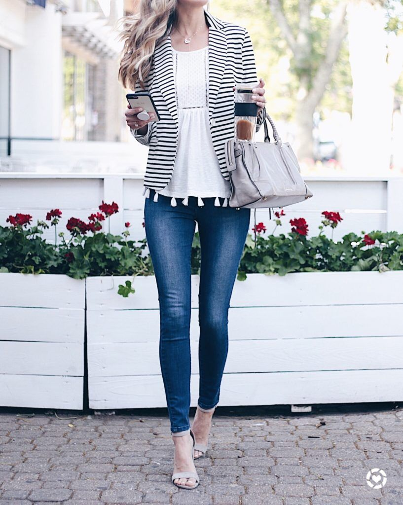 fdd90d2ec45 Summer Sale Outfit - striped blazer with tassel tank and skinny jeans