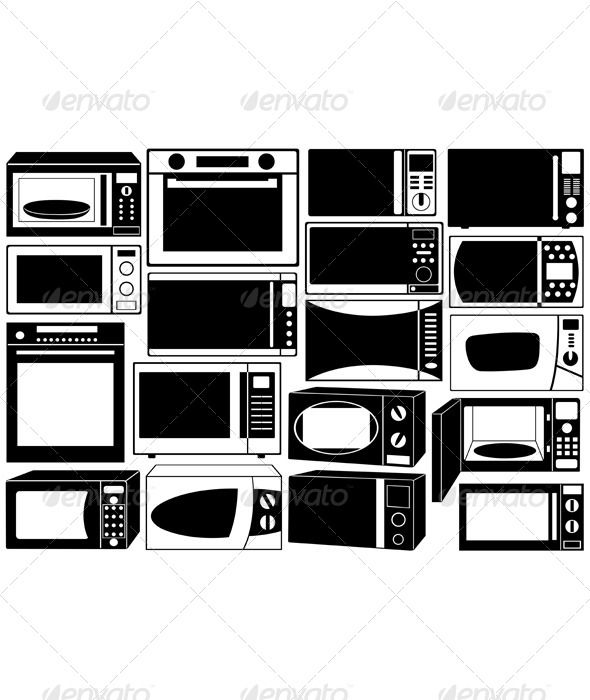 15+ Microwave Clipart Black And White