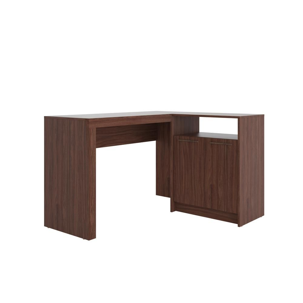 Manhattan Comfort Kalmar Dark Brown L Shaped Office Desk With
