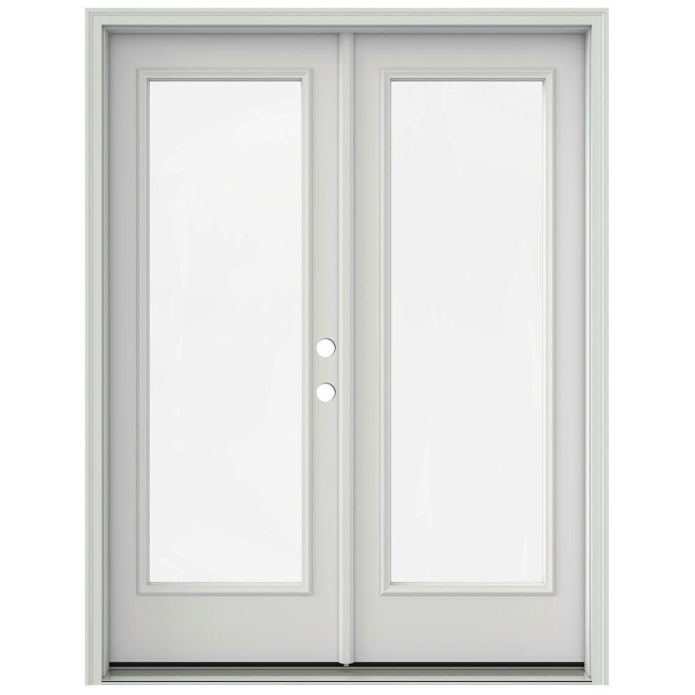 JELD WEN 60 In. X 80 In. Primed Steel Left Hand Inswing Full Lite Glass  Active/Stationary Patio Door THDJW205900520   The Home Depot