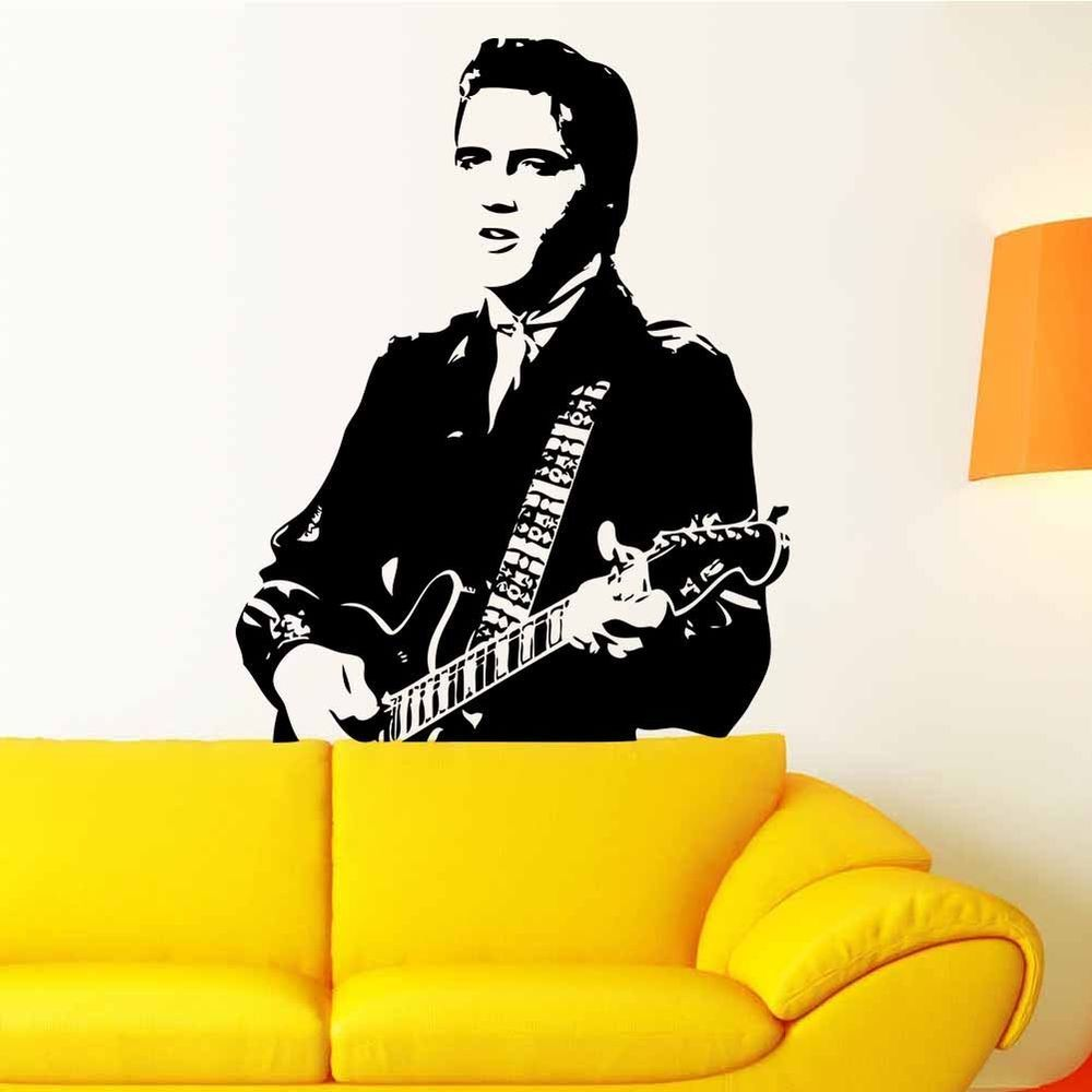 Elvis Presley Guitar Removable Vinyl Decal Art Mural Home Decor Wall ...