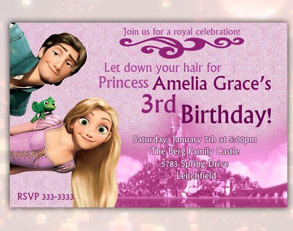 disney rapunzel tangled happy birthday party invitation printable, Birthday invitations