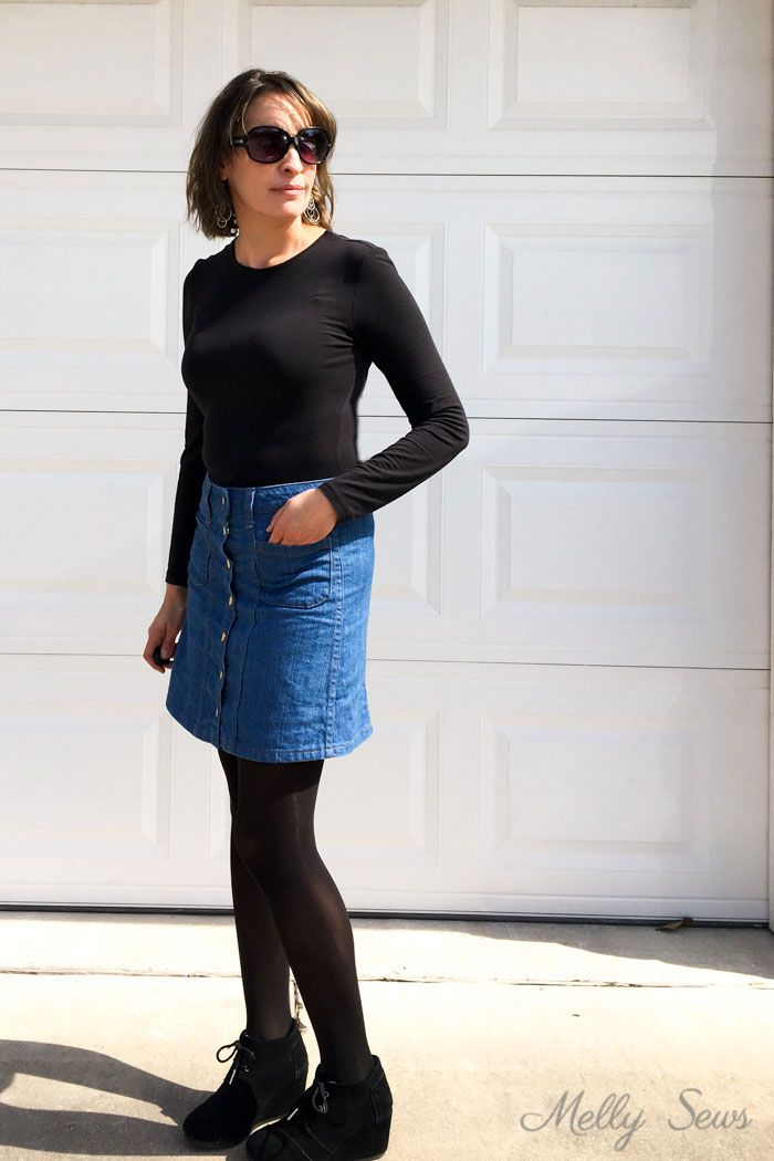069d75b69d Denim skirt outfit - black t-shirt and tights - Sew a Button Up Denim Skirt  - Full Tutorial for this skirt in any size by Melly Sews