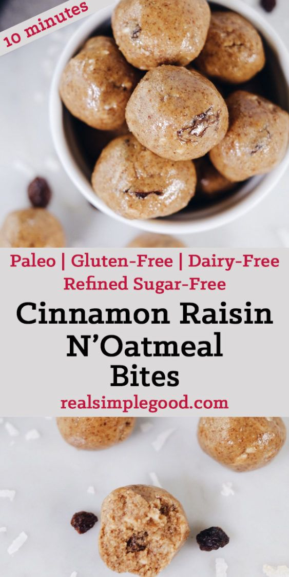 These delicious cinnamon raisin n'oatmeal bites are no-bake and super simple to throw together. Mix them up in one bowl and roll into balls. Done and done! Paleo, Gluten-Free, Dairy-Free + Refined Sugar-Free. | realsimplegood.com