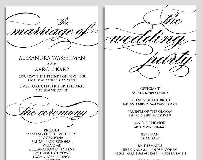 Wedding Program Template Printable We Do