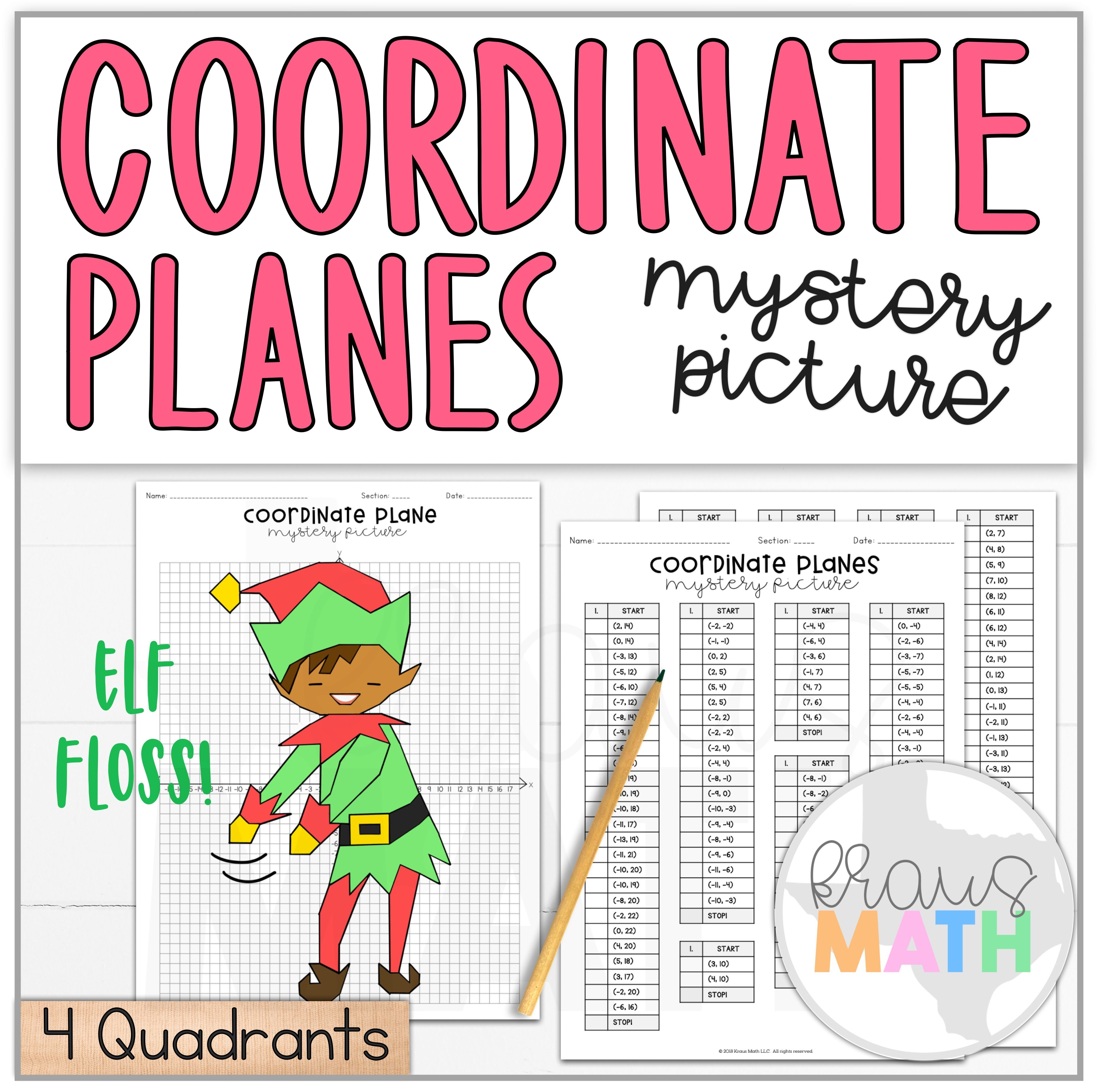 Elf Floss Dance Coordinate Plane Activity (4 Quadrants)   Kraus Math * Christmas/Winter Activity…   Coordinate plane activity [ 3692 x 3708 Pixel ]