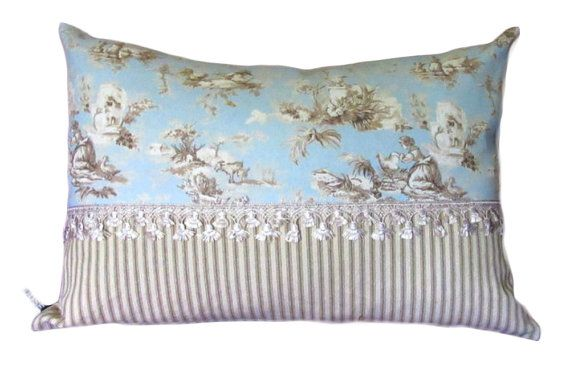 Toile Decorative Pillow Cover Blue Pillow Cover French Country