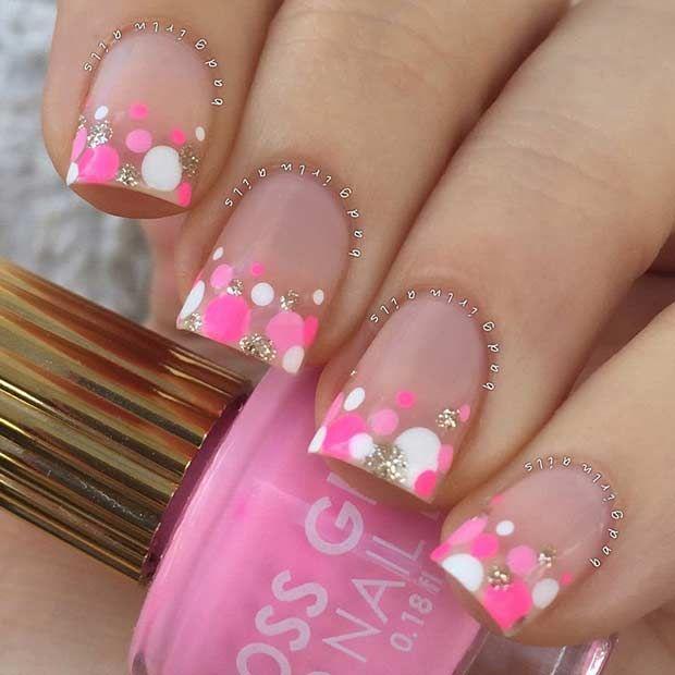 Pink White And Gold Polka Dot Nails