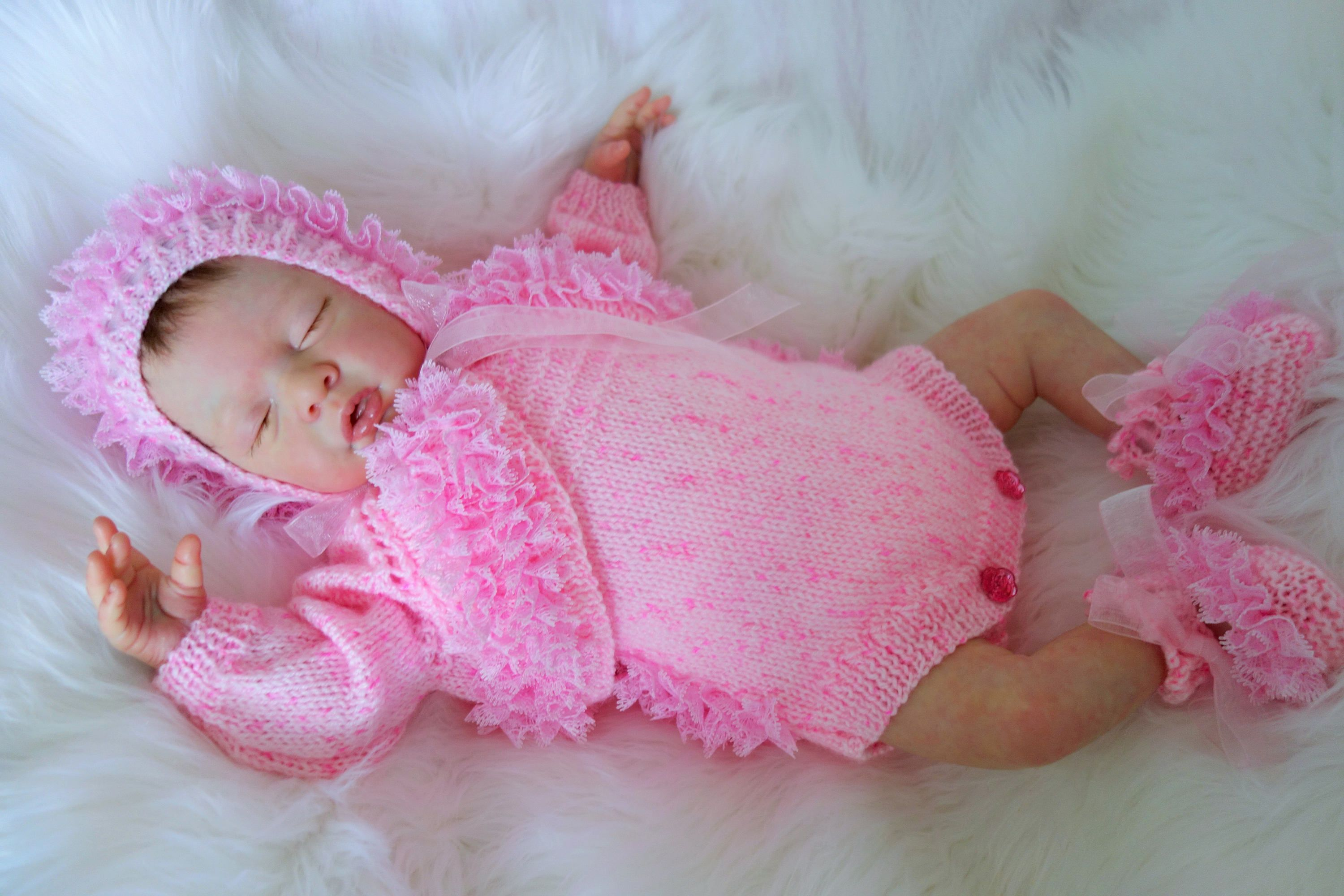 1daaa47453e3 Hand knitted newborn baby girl s fancy lace trimmed pink outfit ...